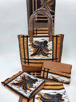 4Yards+2Yards Hot sale printed silk fabric chiffon wax match african big handbag set for party VB4