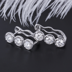 Image 2 - DovEggs Sterling Solid 925 Silver 4.5mm H Color Moissanite Stone Earrings for Women wiht 14K White Gold Pin