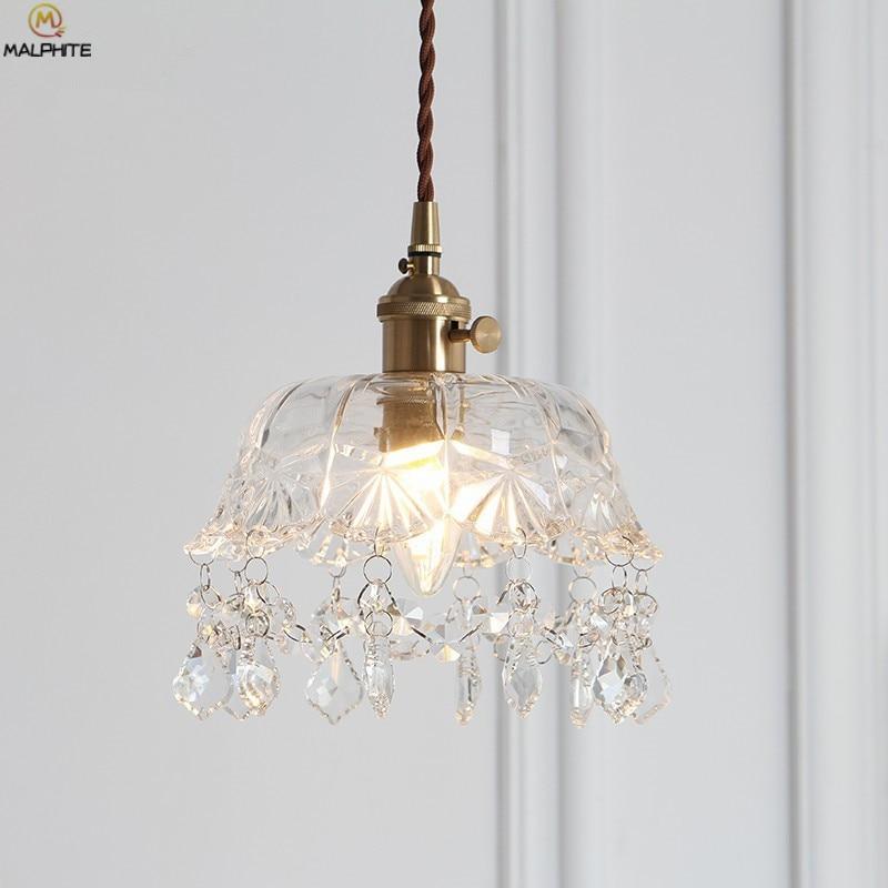 Nordic Brass Glass LED Pendant Lights American Retro Kitchen Fixtures Pendant Lamp Cafe Hanging Industrial Decor Luminaire