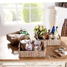 Odd ranks yield Yi Lier hand-woven seagrass storage basket storage basket three-piece rectangular wooden handle h