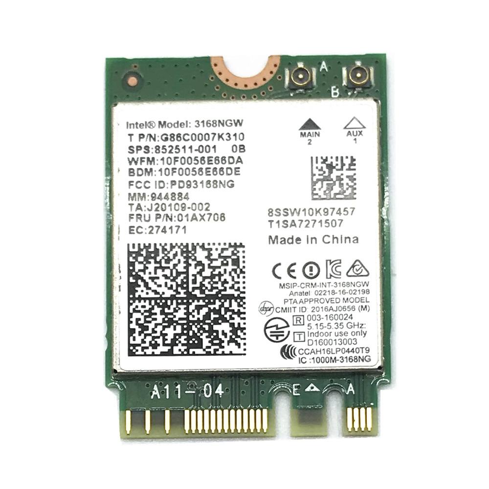 dual band wireless mini wlan for intel 3168 ac 3168ngw ngff m 2