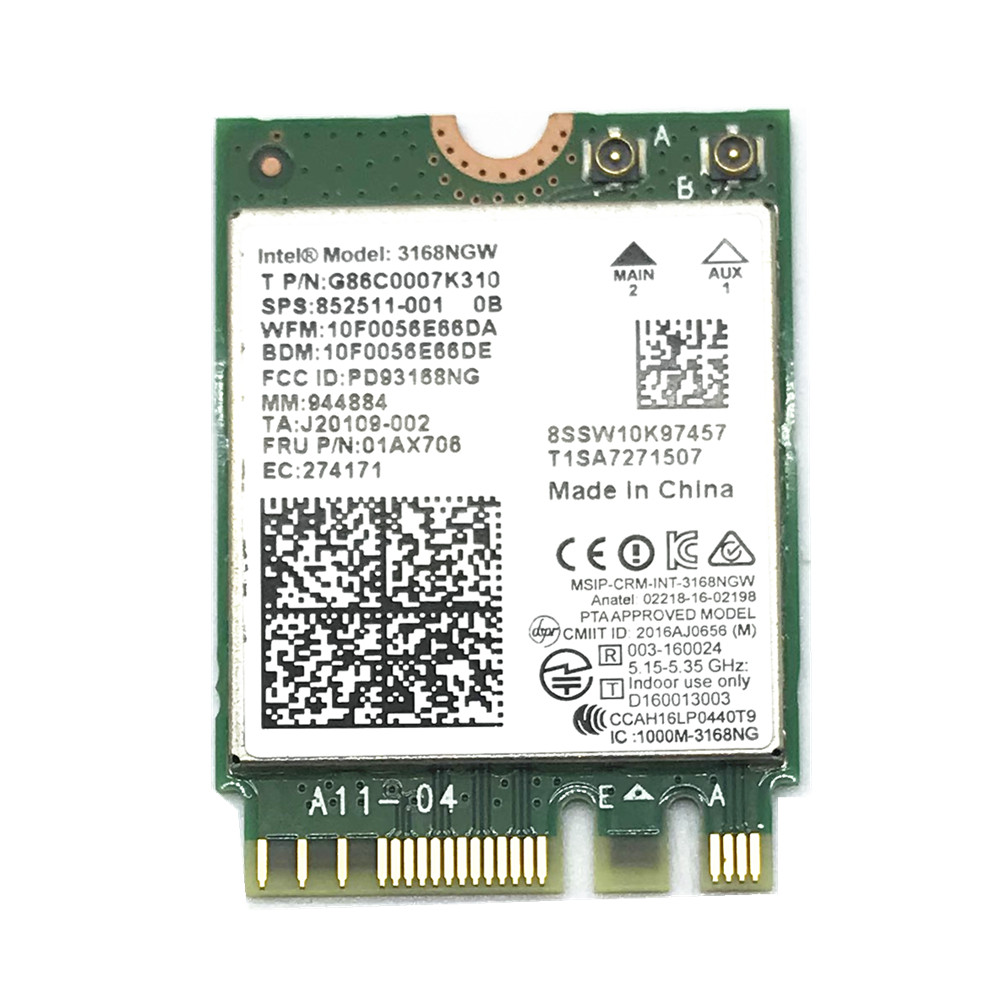 Dual Band Wireless Mini Wlan For Intel 3168 AC 3168NGW NGFF M.2 802.11ac Wifi Bluetooth 4.2 Card 2.4G 5Ghz Network Wi-Fi Adapter