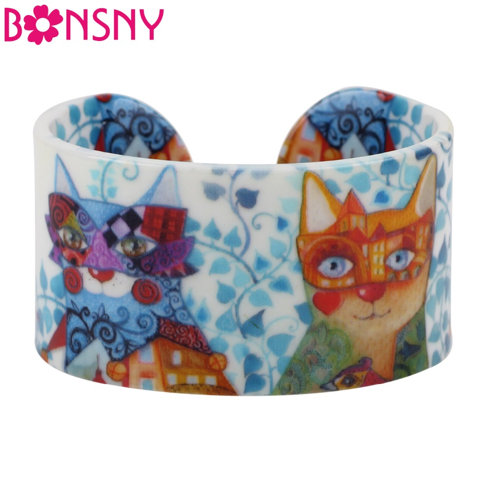 Bonsny Statement Acryl Wide Cute Cat Kitten Pattern Armreifen Armband Einzigartiger Tierschmuck für Frauen Mädchen Pet Lovers Geschenk Neu