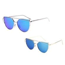 2017 New Hot Sale Sunglasses Brand Designer Fashion Twin-Beams Classic Women Metal Frame Mirror Sunglasses Cat Eye Sunglasses