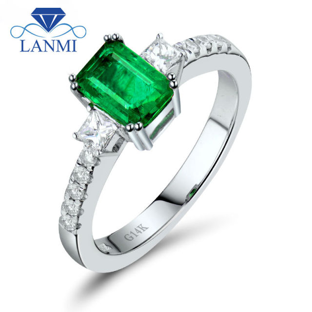 Natural Emerald Diamond 14K White Solid Gold Wedding Rings Direct