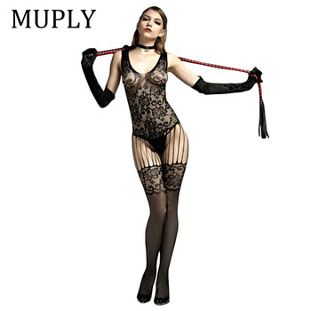 2020 Black Female Erotic Costumes Body Stocking Open Crotch Slutty Lingerie Lstry Sexy Woman Fishnet Sexy Lady Nightwear Suit hot sexy lace neck fishnet body stocking sexy lingerie nets clothings sex costumes black mesh fishnet open crotch bodystocking