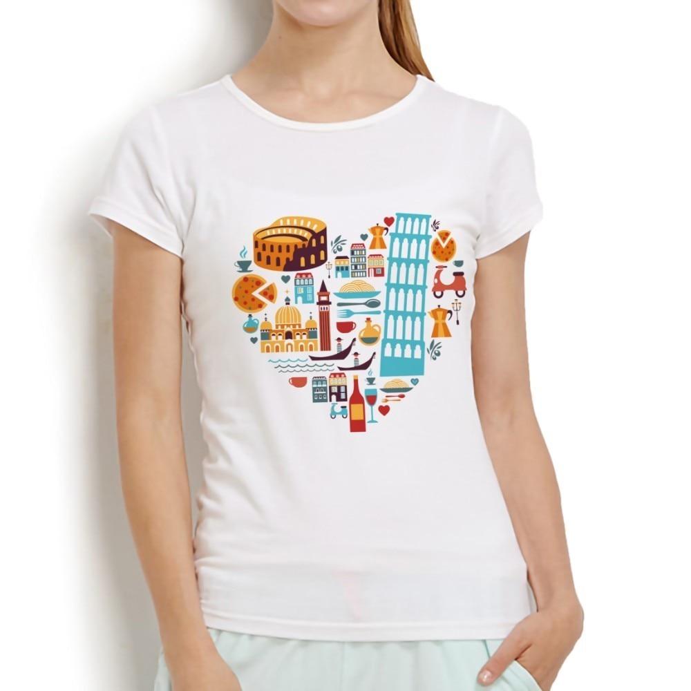 OLASZORSZÁG Jellegzetes dolgok szív alakú tervezés vicces póló - Női ruházat