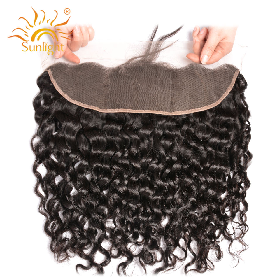 Closure Human-Hair Sunlight Lace-Frontal Natural-Hairline Water-Wave Pre-Plucked Brazilian title=