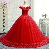 YQLNNE красный с плеча свадебное платье 2018 Свадебные платья 3D Цветы бальное платье Тюль на шнуровке Vestido De Noiva
