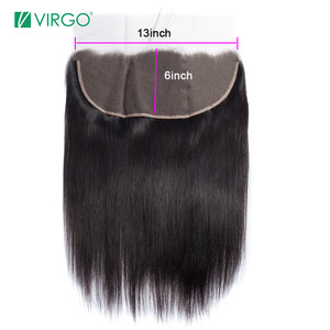 Virgo Hair Ear to Ear 13x6 Lace Frontal Closure With Deep Part 8-18inch Straight Brazilian Remy Human Hair Frontal Pre Plucked(China)
