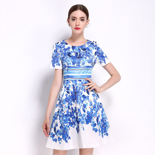 78f4b4f2b3b0 Women Summer Dress Office Ladies Blue Floral Print White A Line Dresses  Short Sleeve Plus Size Empire Slim Dress
