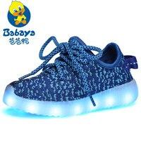 Babaya Light Weight Air Mesh Boys Led Shoes Girls USB Charging Led Luminous Flash Sneakers Children Sports Running Shoes 560