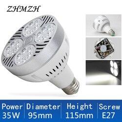 220V E27 PAR30 LED Lamp Bulb 35W Ultra Bright LED Light bulb Lampara Built-in Fan Cooling For Track Lighting Downlight Spotlight