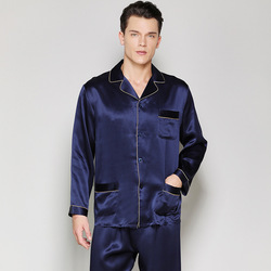 22 Mm Zware Echt Zijde Man Pyjama 100% Zijderups Zijde Nachtkleding Mannelijke Lange Mouwen Pyjama Sets Ongedwongen Thuis kleding T8120