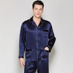 22mm Schwer Echtes Silk Mann Pyjamas 100% Seidenraupe Seide Nachtwäsche Männlichen Langen Ärmeln Pyjama Sets Casual Hause kleidung T8120