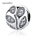 Authentic 925 Sterling Silver Bead Charm Crystal Leaves Stopper Safety Lock Beads Fit Pandora Bracelet & Bangle DIY Jewelry