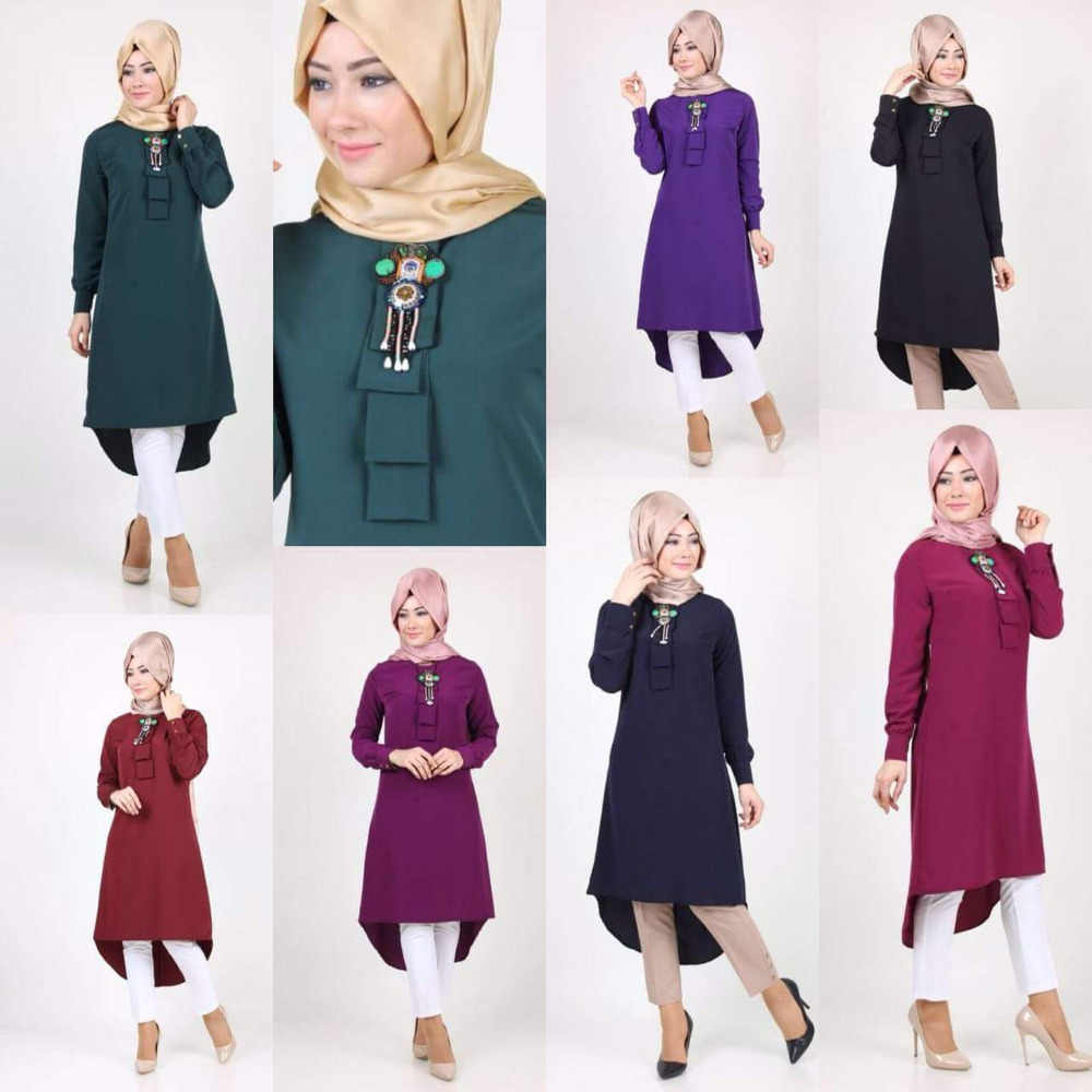 Fashion Women Lady  Muslim Loose T shirt Top Dress Islamic Long Sleeve Bead Maxi Short Kaftan Abaya Arab Clothes