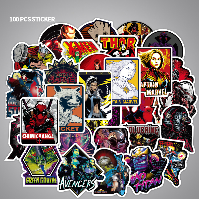 100 Pcs/pack Marvel Stickers Captain Marvel For Sticker Book Luggage Laptop Motorcycle Refrigerator Toys Pegatinas F3