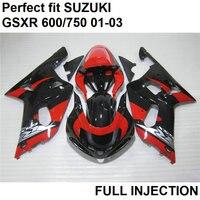 Fit 100% инъекции обтекатели для Suzuki GSXR 600 01 02 03 красный черный пластик обтекателя комплект GSXR750 2001 2002 2003 LV91