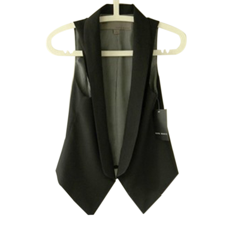 Brief Turn-down Collar Sleeveless Jacket Slim Short Women's Vest Plus Size Summer Cardigan Feminino Coat Office Lady Waistcoats