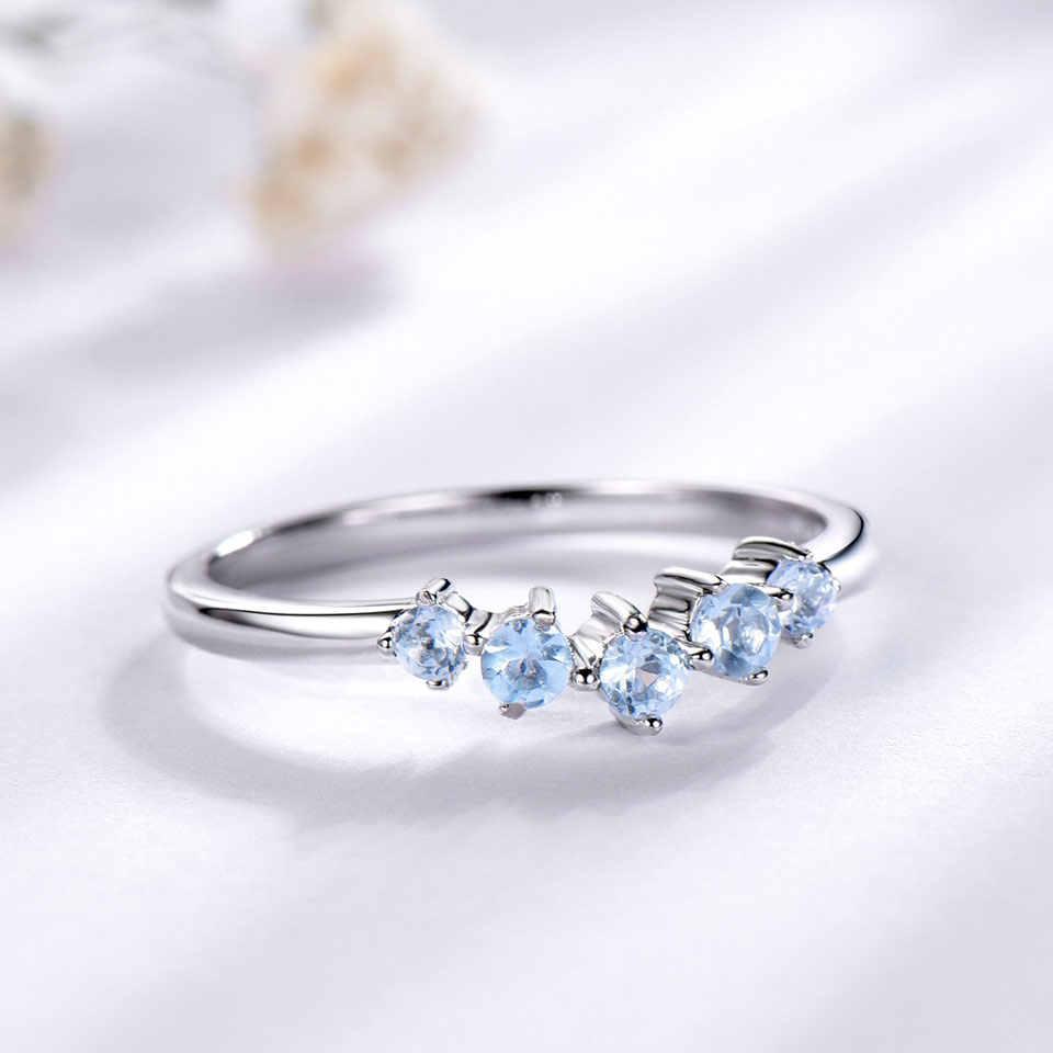UMCHO สร้าง Nano Sky Blue Topaz Birthstone เงินแท้เครื่องประดับอัญมณีแหวนของขวัญ Charming เครื่องประดับ Fine