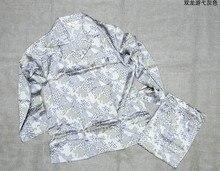 100% шелк тутового шелкопряда Пижамный костюм, мужские шелковые Домашняя одежда, длинные рукава брюки, Double Dragon серый с принтом большие размеры, свободные взрыв 9