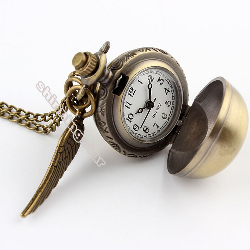 Antique Mini Smooth Wings Bronze Silver Snitch Pocket Watch Necklace Chain Pendant Golden Quartz Pocket Watch Gift Relogio