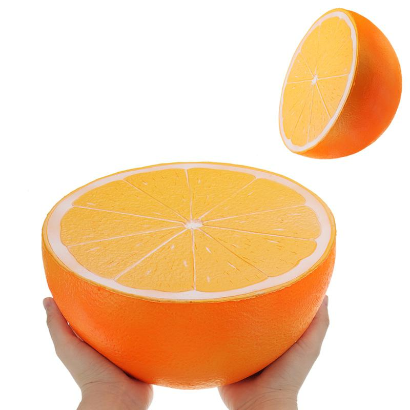 25cm Super Large Squishy Half Orange Shape Slow Rising Toy Children/Adult Cute Fruit Shape Vent Soft Squeeze Stress Relieve Toy