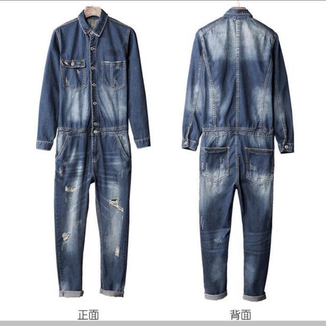 9781047e1c5d M-XXL Autumn trend denim jumpsuit jeans men s Japanese motorcycle mechanic  dress Slim Rompers Korean denim one piece overalls