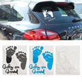 1PCS Hot Selling Auto Safety Warning Window Sticker Lovely Letter Baby on Board Baby Footprints Stickers Refective Car Sticker