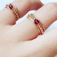Handmade Natural Garnet Rings Custom Knuckle Jewellery Gold Fiilled Femme Anillos Anel Boho Jewelry Joyas Aneis Rings for Women