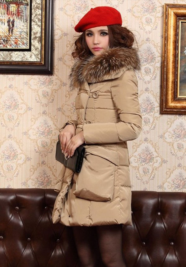 2014 winter big fur collar women sweet down jacket solid double breasted polyester coats long full sleeve slim warm down E279 mens winter down jackets coats piumino peuterey wool collar double breasted jacket lapel pocket vertical multi pocket jacket