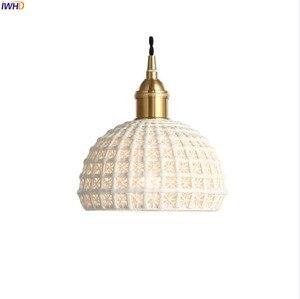 Image 2 - Подвесные светильники IWHD в скандинавском японском стиле, лампы для столовой, гостиной, винтажные Винтажные белые керамические подвесные лампы из меди