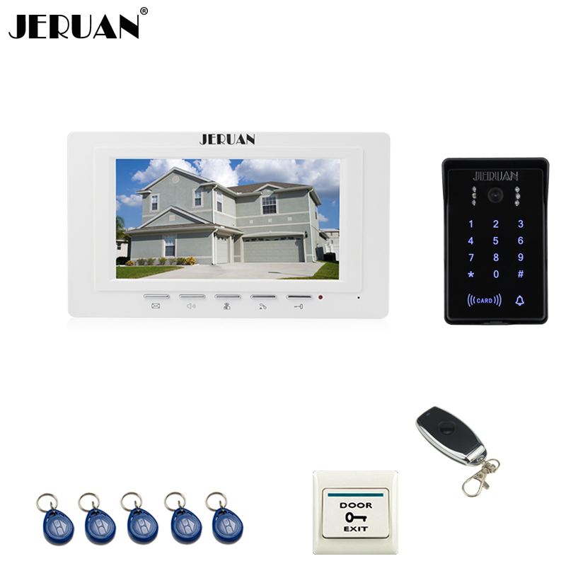 JERUAN white 7`` LCD Video Intercom Video Door Phone System RFID Access Waterproof Touch key Camera+Remote control Unlocked jeruan new 7 video intercom entry door phone system 1monitor 700tvl touch key waterproof rfid access camera remote control