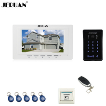 "JERUAN white 7"" LCD Video Intercom Video Door Phone System RFID Access Waterproof Touch key Camera+Remote control Unlocked"