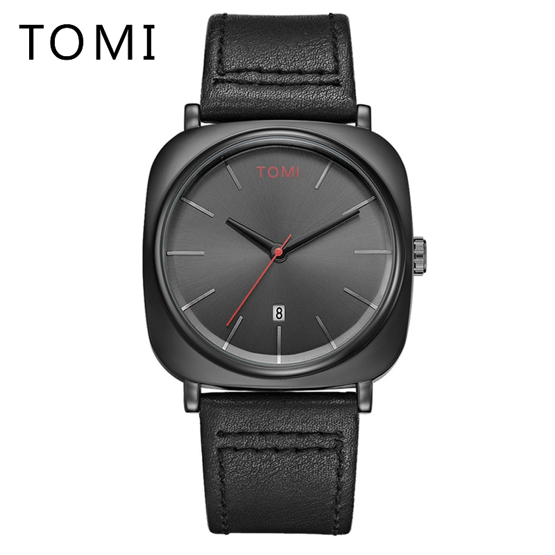 Tomi Brand Watch Men Dress Quartz Wrist Watch For Leather Casual Water Resistant Wristwatch Clock Mens Swim Sport Watches splendid brand new boys girls students time clock electronic digital lcd wrist sport watch