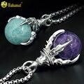 Bahamut 925 joyería de plata esterlina del dragón garra collar de amatista púrpura goldstone piedra amazonita colgante de cristal fantasma verde