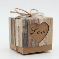 50pcs Set Candy Box Wedding Hearts In Love Rustic Kraft Imitation Bark With Burlap Twine Chic