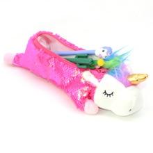 Sequin Unicorn Pencil Case Estuche Unicornio Escolar Crayon Licorne Pennen Etui Kids Plush Pencilcase For School Korean Glitter