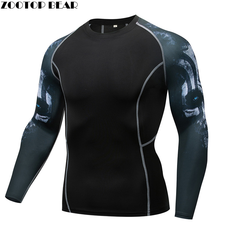 Grot T shirt Compression MMA Tee Rash guard Men T-shirt  quick dry Breathable Elastic Tight Weight Lifting Crossfit Top Fitness