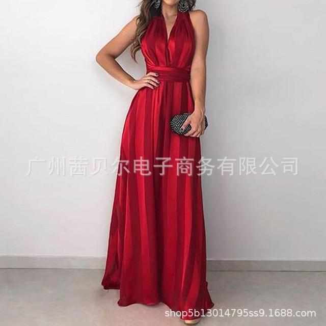Summer Vintage Elegant Sundress Sexy Party Night Maxi Red Dress 2