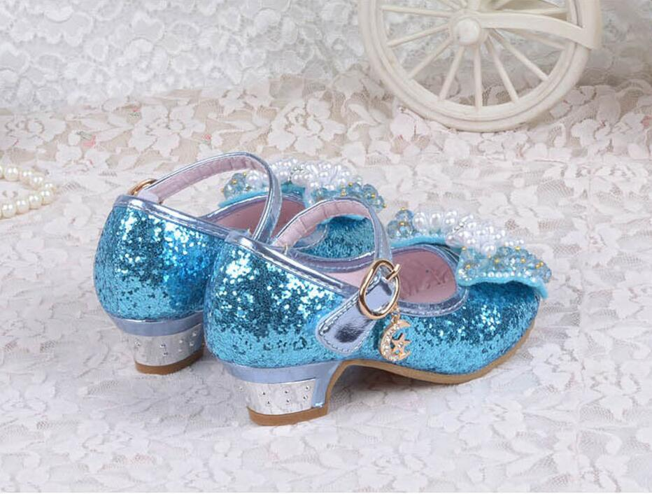 Girls Princess Single Sandals Heels Snow Queen Colors Glass Slipper ... 3059ba532183