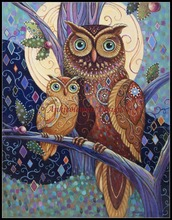 Фотография Needlework for embroidery DIY French DMC High Quality - Counted Cross Stitch Kits 14 ct Oil painting - Owls