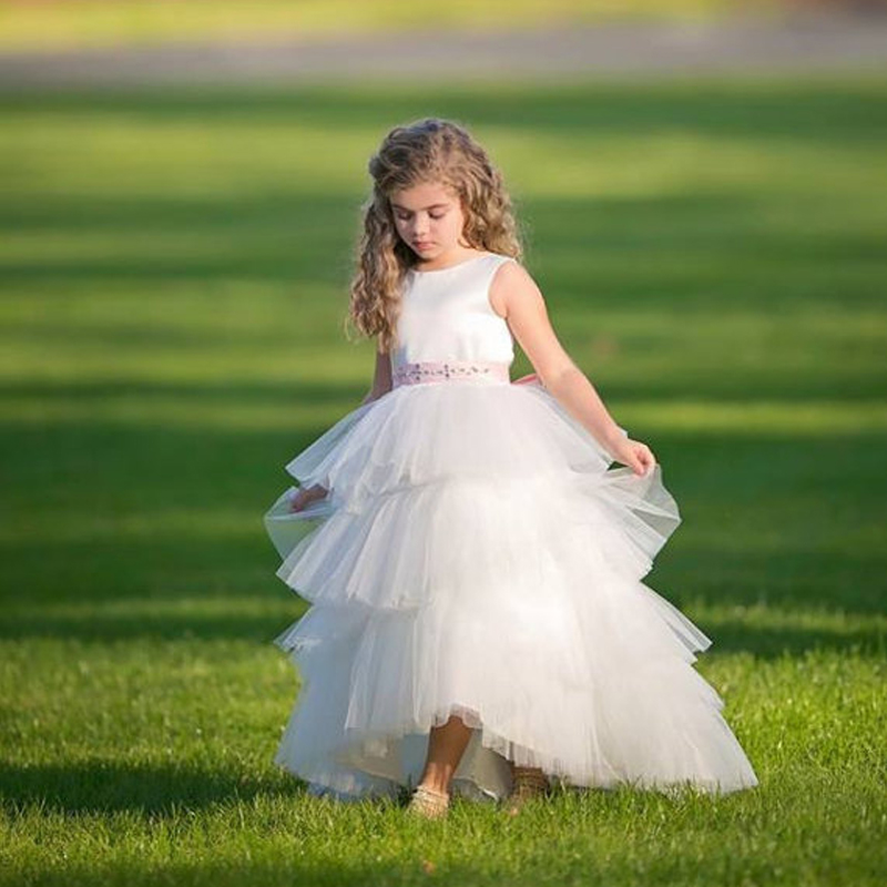 High/Low Satin and Tulle Flower Girl Dress with Made to Match Rhinestone Belt Sleeveless Long Mother Daughter Dresses For Girl high low striped sleeveless overlap blouse
