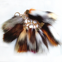 12pcs New Brown Yellow White Red Series Cylindrical Tail Car Key Ring Long Fake Fur Brand Bag Chain Personality Hang Keychains