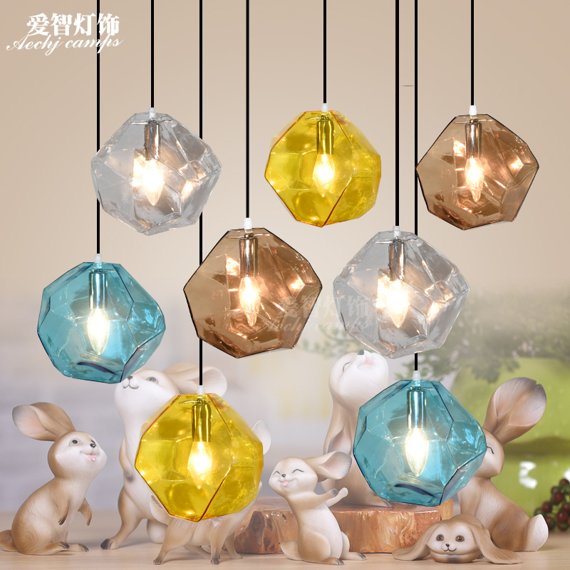 Modern Colorful Pendant lights with Crystal Shade,Creative LED Crystal Pendant lamp for Bedroom,Dining Room,Kitchen and Bar