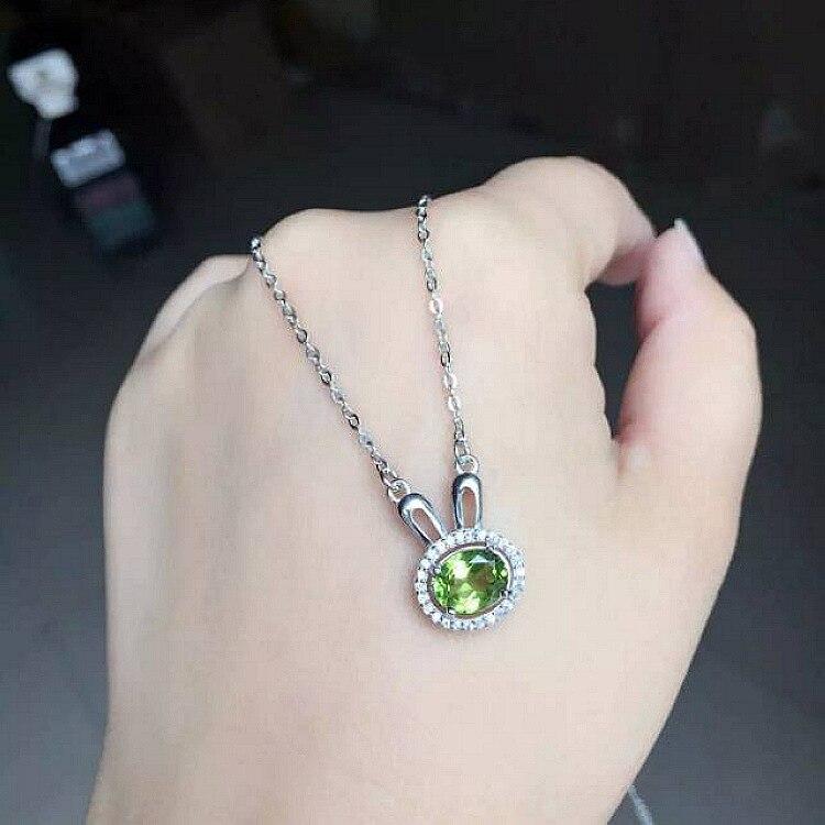 925 collier en argent Sterling femmes bijoux dessin animé lapin naturel semi-précieux pierre péridot vert cristal petite amie cadeau