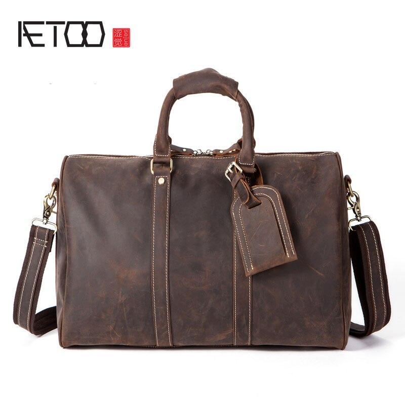 AETOO Business Travel Bag Custom Retro Crazy Horseskin Large-capacity Travel Bag Portable Leather Duffel Bag сумка для экипировки guideline duffel bag