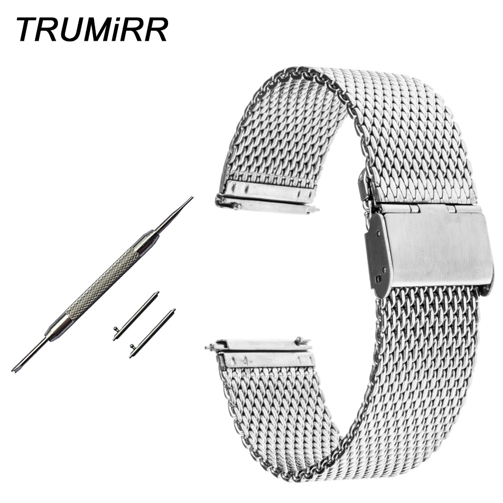 20mm 22mm Milanese Watchband + Quick Release Pins for IWC Watch Band Stainless Steel Strap Wrist Bracelet Black Silver + Tool цены