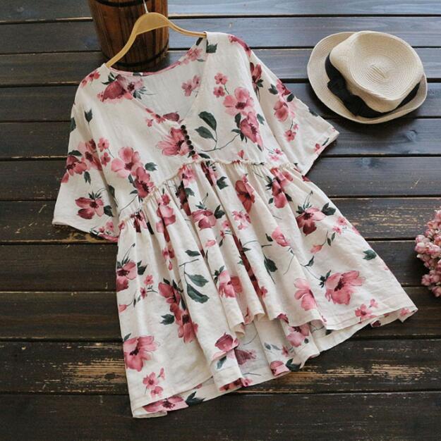 Dulce de Color estampado de Flores con cuello en v manga corta camisa de la muñe